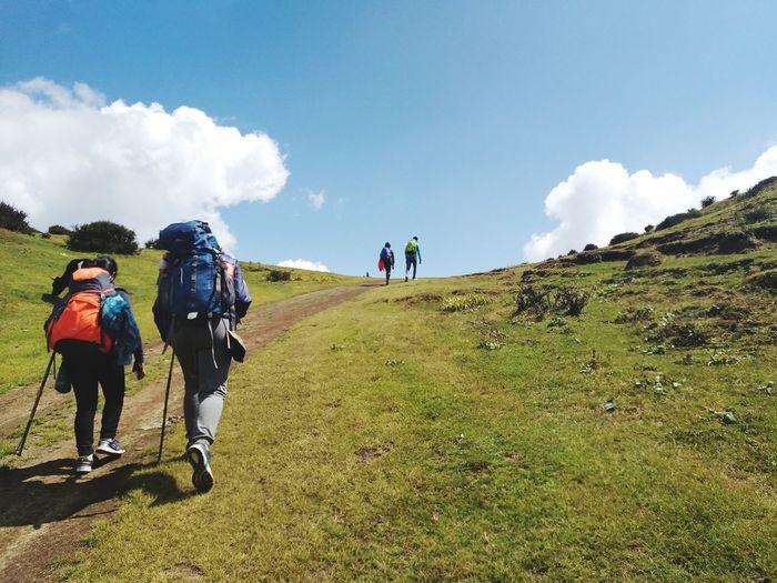 trip.. Mountain Adventure Men Women Hiking Walking Climbing Sky Landscape Grass Hiker Pursuit - Concept Uphill Backpack Mountain Climbing Trail My Best Travel Photo