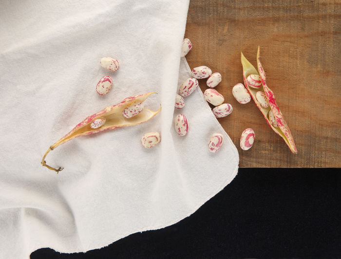 Cranberry beans on textures with copy space Beige Copy Space Natural Light Textures Bean Pods Black Brown Close-up Cloth Cranberry Beans Day Fabric Freshness Indoors  Indoors  Légumes Napkin No People Nobody Overhead Room For Text Speckled Still Life Studio Shot