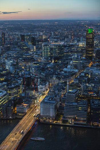 Aerial View Architecture Bridge - Man Made Structure City London Night Outdoors Shard Shard London Travel Destinations