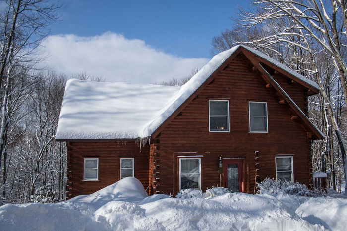 Architecture Bare Tree Building Exterior Built Structure Cloud - Sky Cold Temperature House Log Cabin Residential Structure Sky Snow Winter