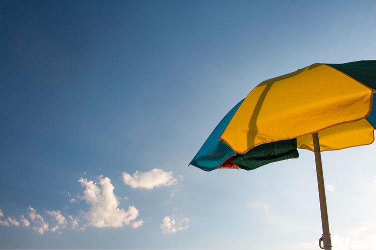 Beach umbrella, Cea, Tortolì, Sardinia, Italy Travel Vacation Trip Sardinia Sardegna Tortoli Cea  Beach Sun Blue Yellow Sky Cloud - Sky Close-up Beach Umbrella Parasol Coast Sun Lounger Umbrella Sunshade