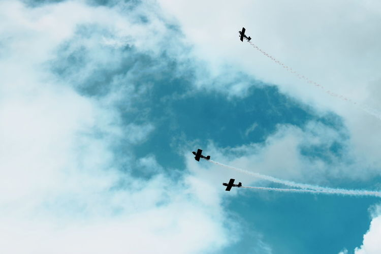 Welshpool Airshow 2017 Aerobatics Air Vehicle Airplane Airshow Cloud - Sky Coordination Day Extreme Sports Fighter Plane Flying Low Angle View Mid-air Military Airplane Motion Nature No People Outdoors Performance Skill  Sky Smoke - Physical Structure Speed Stunt Teamwork Vapor Trail