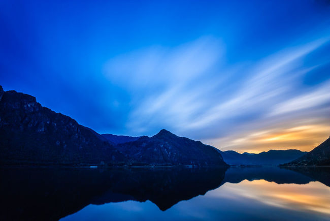 Blue hour at Lago D´Idro Hour Silhouette Alps Beauty In Nature Blue Cold Idro Italian Lake Lake View Long Exposure Mountain Mountain Range Nature No People Outdoors Peaks Reflection Scenics Shore Tranquil Scene Tranquility Water