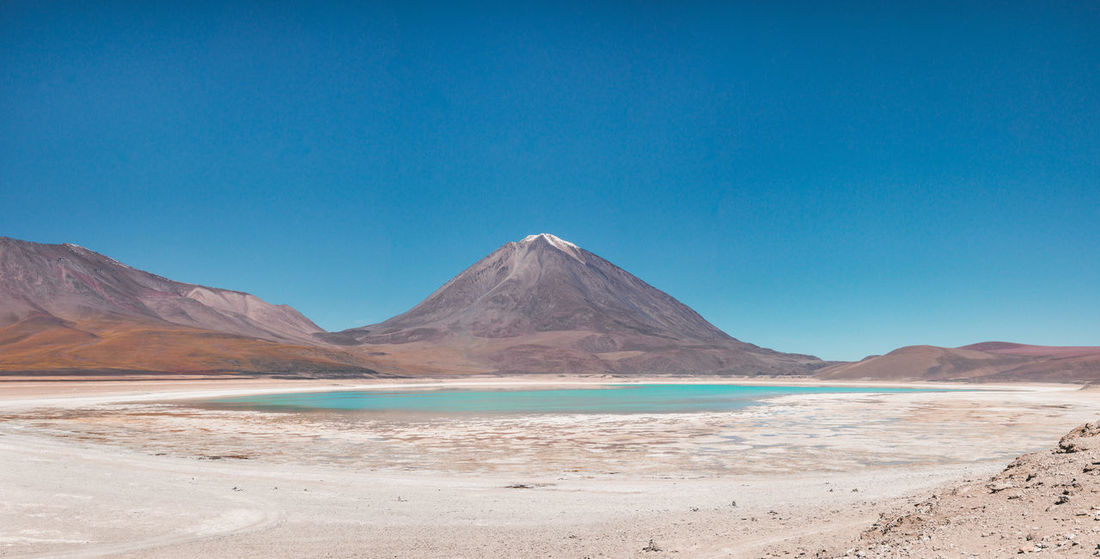 Laguna Verde, Bolivia Desert Panorama Travel Adventure Aqua Arid Climate Blue Day Environment Idyllic Laguna Verde Landscape Mountain Mountain Peak Mountain Range No People Non-urban Scene Salt Flat Scenics - Nature Snowcapped Mountain Tranquil Scene Travel Destinations Turquoise Volcano Water