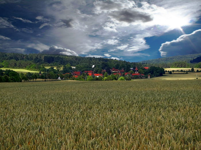 A view of Espenfeld, a beautiful small village in Thuringia, Germany Espenfeld Field Nature Thuringia WoodLand Clouds Germany Landscape Meadow Scenics Sky Village