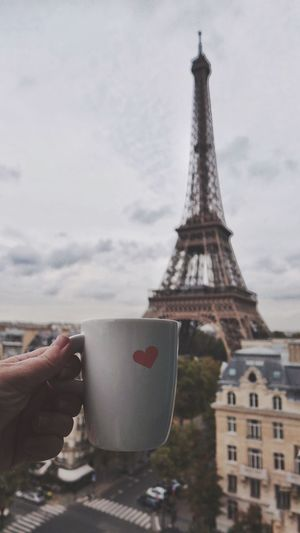 Liquid Lunch Love Coffee Paris Eiffel Tower Coffee Time Coffee Break Love ♥ Valentine Valentine's Day  Traveling Hello World Taking Photos Enjoying Life Hotel View Drinking Hello World Hand Eye4photography  EyeEm Best Shots Tourist Relaxing