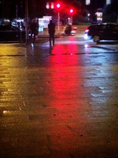 Urban Geometry Night Lights Red Streetphotography
