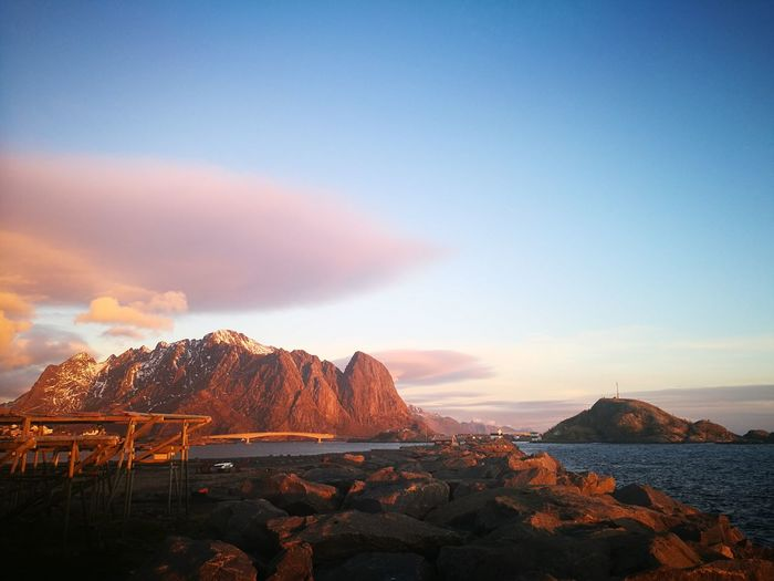 Lofoten Islands Lofoten Norway Norway Sea And Sky Ocean Evening Mountain Sunset Sky Landscape Tranquil Scene Tranquility Remote Scenics Calm