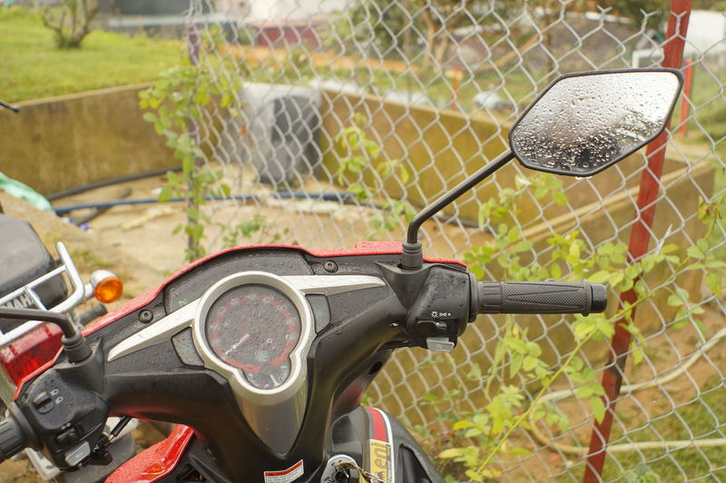Bicycle Chainlink Fence Close-up Day Land Vehicle Metal Mode Of Transport Motorcycle No People Outdoors Stationary Transportation