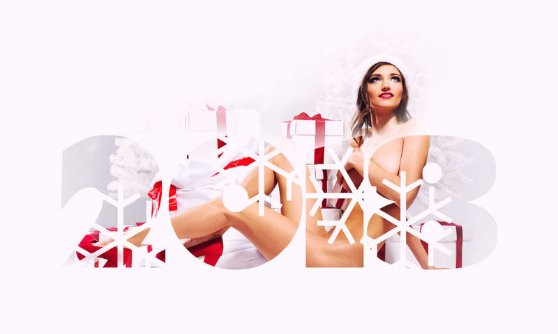 2018 Happy New Year background. Beautiful woman with gift boxes. 2018 2018 Year Celebration Christmas December Holiday January New Year Slim Winter Woman Beautiful Woman Calendar Celebration Event Christmas Decoration Design Digits Gift Boxes Happy New Year Naked_art Numbers Snowflakes Symbol White Background Young Adult