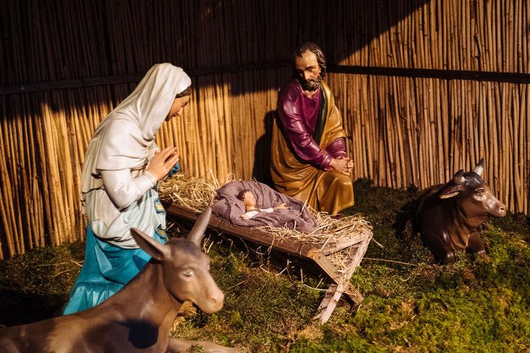 Chapel Composition Crib Nativity NativityScene Religion Sitting Standing