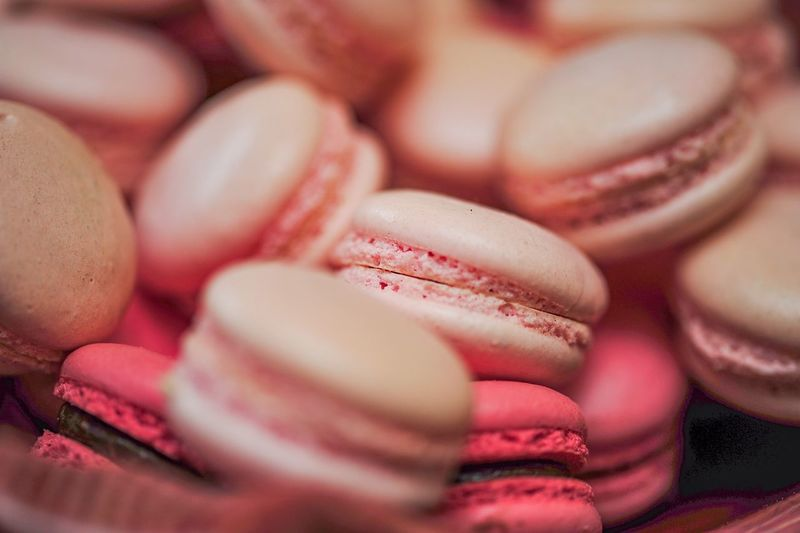 Close-up of pink macaroons in plate