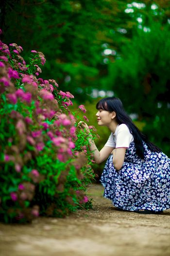 Beautiful Beauty Beauty In Nature Black Hair Day Flower Helloworld Hi! Long Hair Nature Side View Tree Young Adult Young Women Lovely Love Love ♥