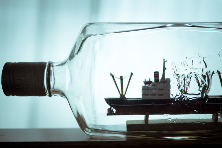 Close-up No People Day Bottle Ship Ship In A Bottle Macro Blue ボトルシップ Interior Toy 雑貨 Indoors