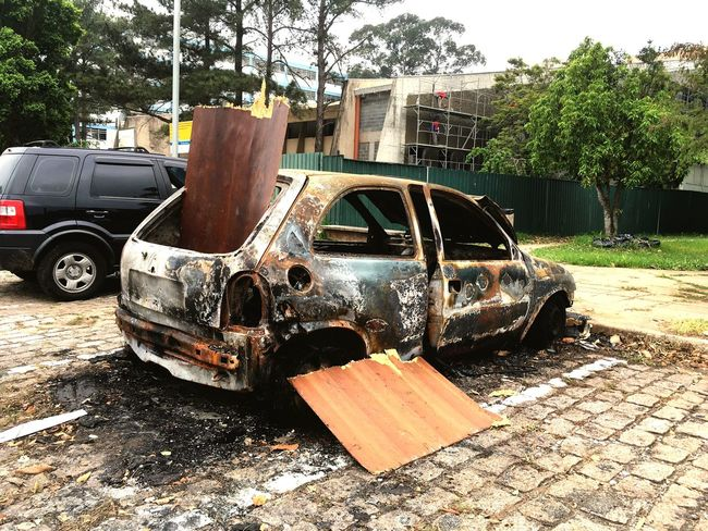Car Parking Roadside Damaged Parked Corruption Burned Out Cars Burning Sao Paulo - Brazil