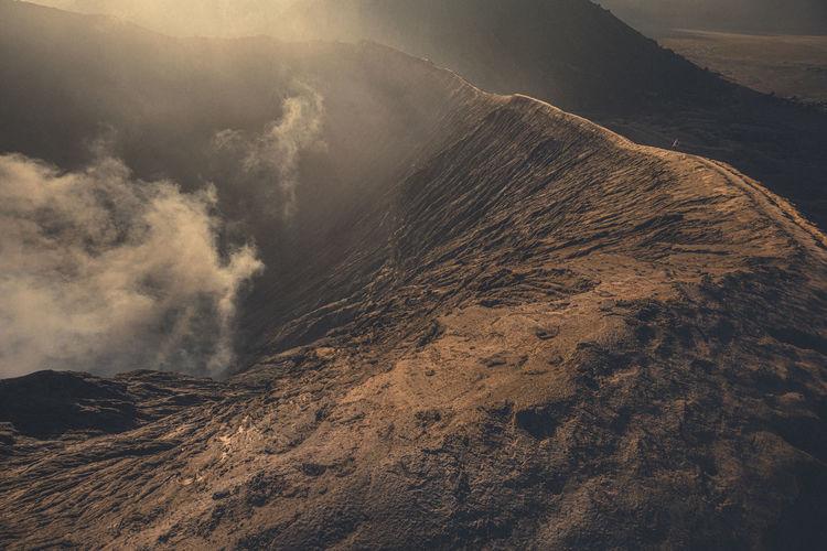 High angle view of volcanic mountain of bromo