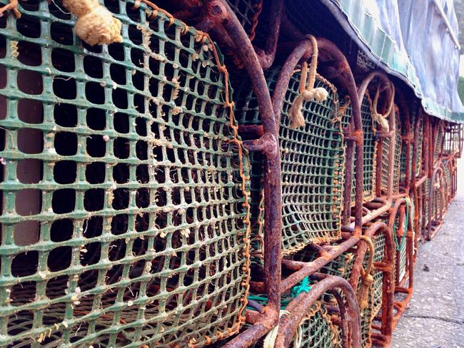 Nasas en Lorbé Fish Nets Metal Rusty No People Cage Abandoned Outdoors Close-up Day