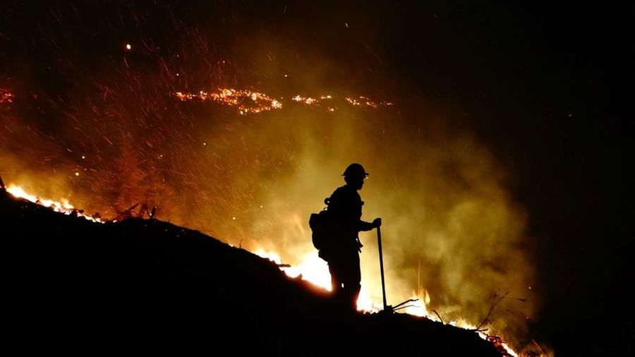 Silhouette One Man Only One Person Outdoors Firefighter Wildlandfire Forest Wildlandfirefighter Viewfrommyoffice
