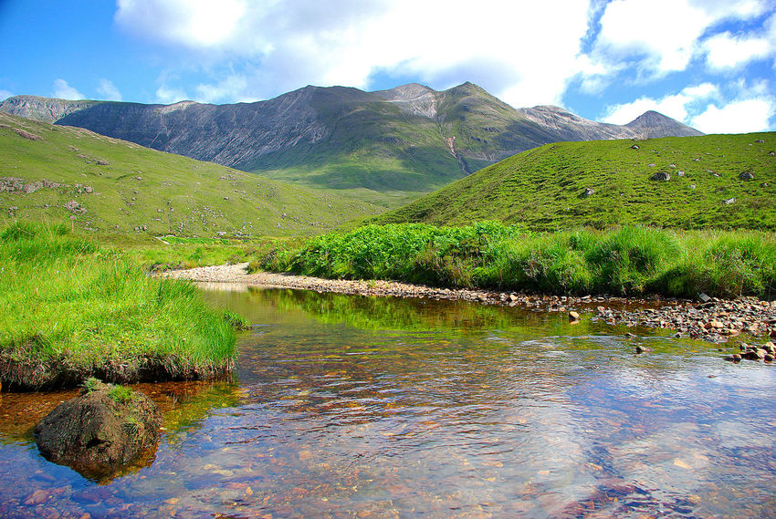 River Torridon and Beinn Eighe Beauty In Nature Beinn Eighe Day Green Color Growth Idyllic Lake Landscape Loch  Mountain Nature Nature Reserve. No People Outdoors Reflection River River Torridon Scenics Sky Torridon Mountains Tranquil Scene Tranquility Tree Water Wester Ross