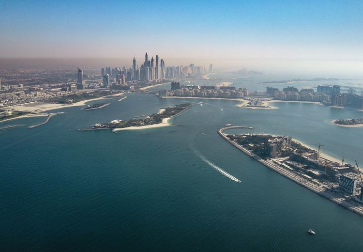 Drone  Dubai Dubai Marina Palm Jumeirah Aerial View Architecture Building Exterior Built Structure City Cityscape Day High Angle View Modern Nature Nautical Vessel No People Outdoors Sea Sky Skyscraper Transportation Travel Destinations Urban Skyline Water Waterfront