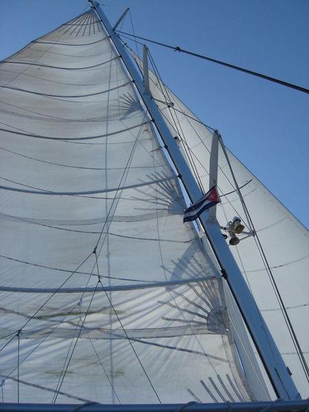 Clear Sky Cuba Cuban Flag Low Angle View Nautical Vessel Rigging Sail Sail Boat Sailing Transportation White White Sail