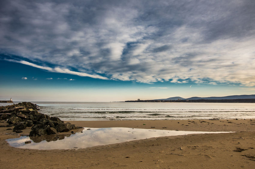 Beautiful winter sunset at the seaside Beach Beauty In Nature Cloud - Sky Day Horizon Over Water Nature No People Outdoors Sand Scenics Sea Shore Sky Tranquil Scene Tranquility Water