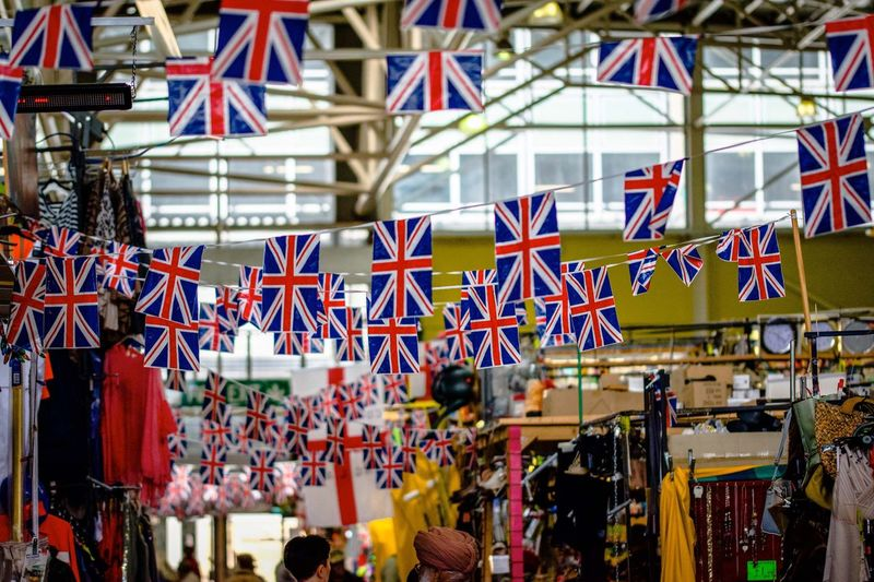 Great British Market Brexit Indoor Market Market Uk England England, UK World Cup 2018 Union Flag Union Jack United Kingdom British Britain Flag Patriotism Architecture Decoration Day Amusement Park No People Hanging Arts Culture And Entertainment Retail