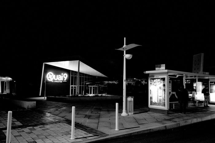 Architecture Black And White Building Exterior Built Structure Bw_collection Communication Illuminated Night Nignt No People Outdoors Road Sign Sky Street Light Urban