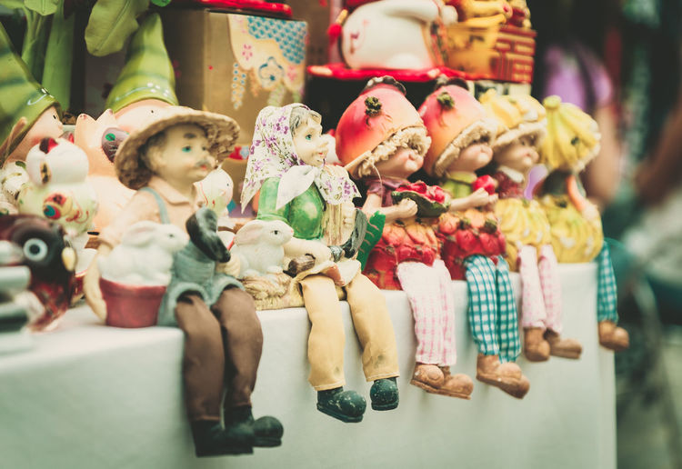 Close-up of stuffed toys for sale in market