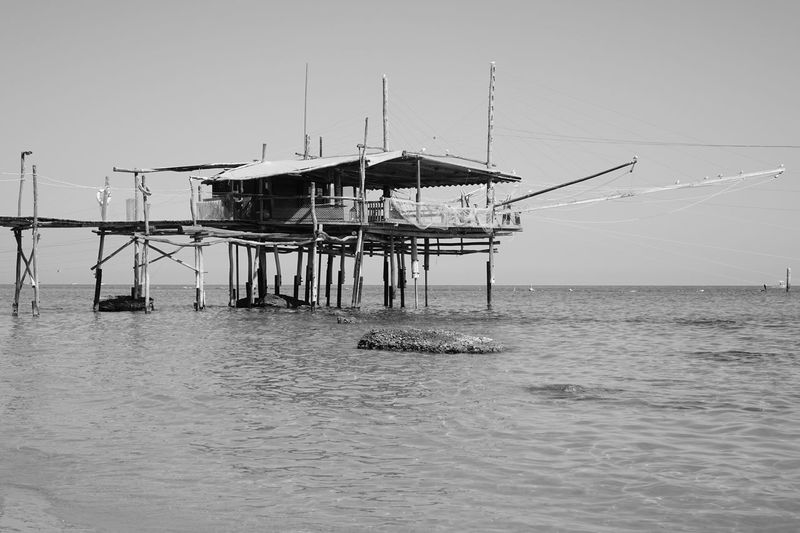 The trabucco (Italian pronunciation: [or trabocco; in some southern dialects called travocc) is an old fishing machine typical of the coast of Abruzzi region (specially in the Trabocchi Coast or Costa dei Trabocchi) and also in the coast of Gargano, where it is protected as historical monuments by the homonym National Park. Spread along the coast of southern Adriatic especially in the Italian provinces of Chieti, Campobasso, and Foggia and also in some parts of the coast of southern Tyrrhenian Sea. Abruzzo - Italy Cozze D'Annunzio Fossacesia Sea Sea And Sky Sea Life Sea View Sea_collection Seafood Seagull Seascape Seaside Trabocchi Trabocco Trabucco