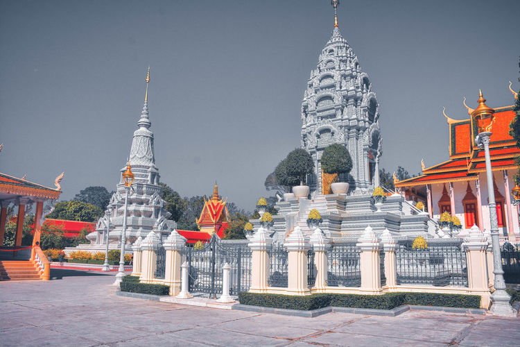 Traditional building stupa in the royal palace of cambodia