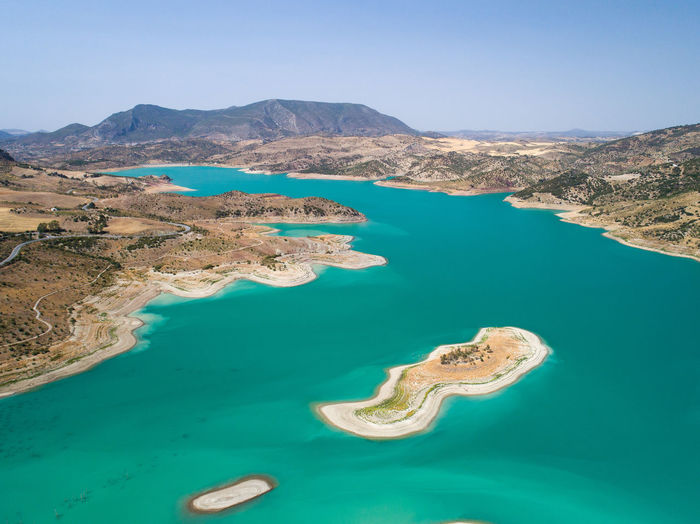 SPAIN Andalucía Aerial View Drone  Aerial Landscape View Nature Beauty In Nature Turquoise Colored Artificial Lake Lake Island High Angle View Mountain Water Summertime Countryside