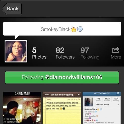 S/o 2 @diamondwilliams106 , Yall Go Follow Her