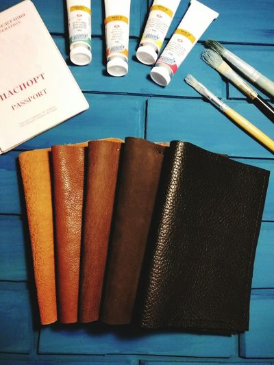 Leather Craft Handmade Passport Blue Paint EyeEm Selects