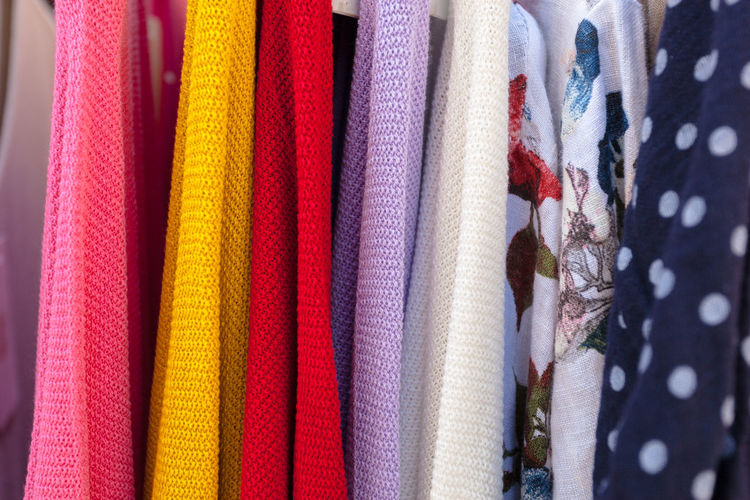 Arrangement Backgrounds Choice Close-up Clothing Fashion Full Frame Hanging In A Row Large Group Of Objects Material Multi Colored No People Order Pattern Retail  Retail Display Side By Side Store Textile Variation