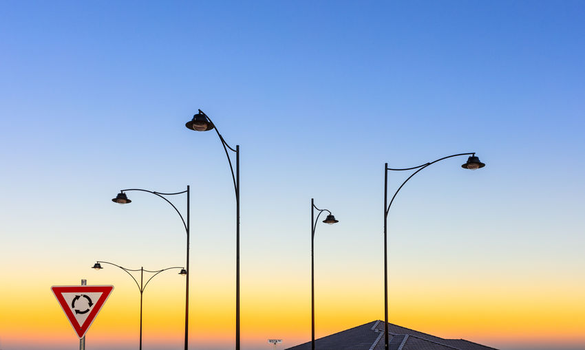 Clear Sky Street Light No People Lighting Equipment Sign Sunrise Dawn Blue