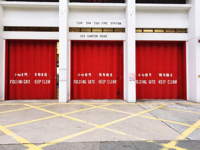Red Folding Gate Of Fire Station