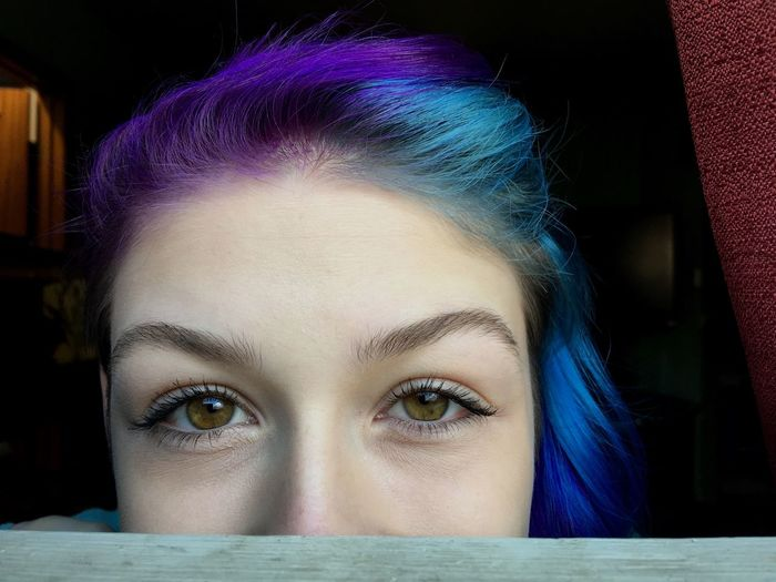Young Women Headshot One Person Looking At Camera Portrait Young Adult Beautiful Woman Front View Human Eye Close-up One Young Woman Only Indoors  Women Beauty Real People One Woman Only Day People Purple Hair Blue Hair Half And Half Sidecut Hazel Eyes  Natural Light Natural Brows