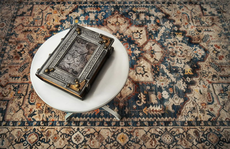High angle view of old electric lamp on table