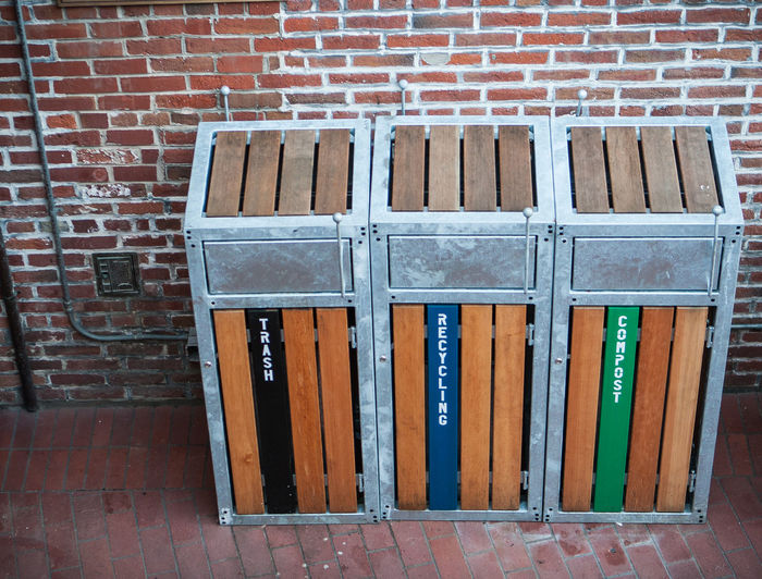 Recycle and Compost Bins Green Living No People Brick Trash Recycling Bin Eco Living Recycle Brick Wall Compost Bin Trash Can Renewable Environmental Conservation Environmentally Friendly Conservation Global Warming