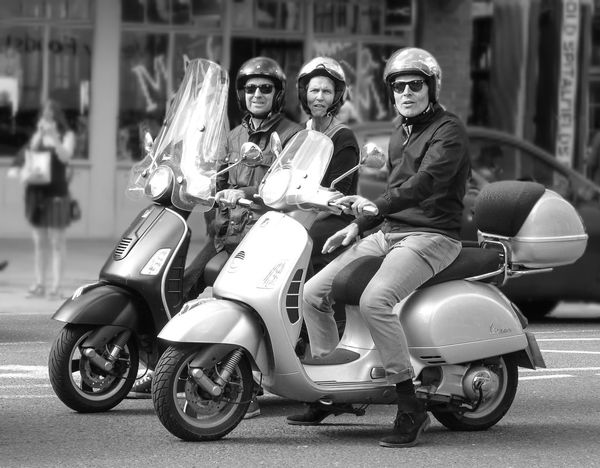 Scooters Blackandwhite Bw Bw_collection Eastlondon Helmet London Scooter Selective Focus