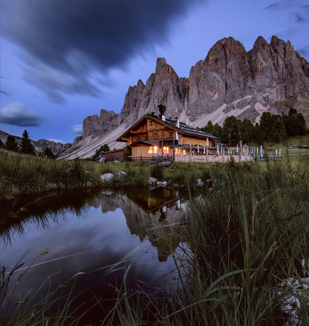 Blue hour 💙 Mountain Landscape Nature Mountain Range Scenics Travel Destinations Beauty In Nature Water Reflections Blue Hour Dolomites, Italy Val Di Funes Odle Group Rifugio Delle Odle Trentino Alto Adige South Tyrol