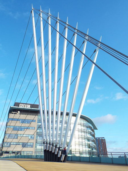 Media City UK footbridge Media City Salford Salford Quays Salford United Kingdom Manchester Ship Canal Bridge BBC