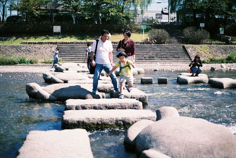 Ultimate Japan Kamo River Kyoto Outdoor Family Rock Analogue Photography Fuji Premium 400 Let Jump!