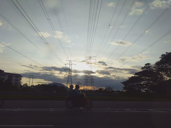 Sky Sunset Motorcycle Riding People Only Men Outdoors