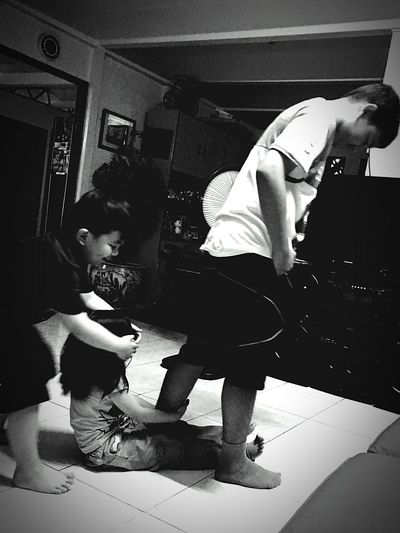 Playful Kids Togetherness Fun Enjoy The Moment Bonding Time Black And White