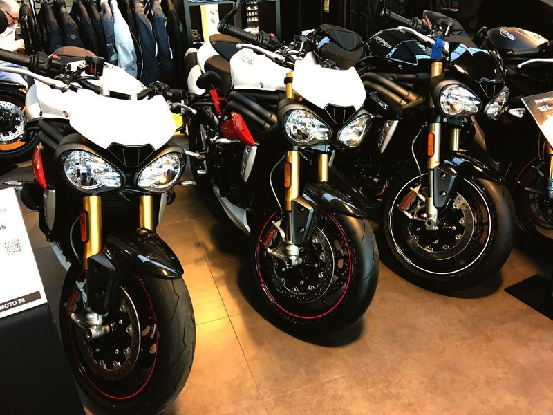 """Triumph Speed Triple"" Triumph Triumph Motorcycle Triumph Speed Triple LED Transportation Mode Of Transport Motorcycle No People Motorbike Motorcycles Indoors  Power Colors Wheel Stationary Competition"