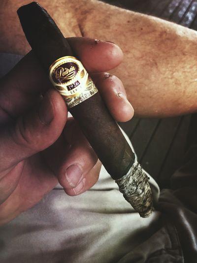 Rainy Morning Padronanniversary Smoke Cigar Human Hand Hand Real People Body Part