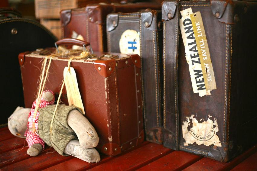 Travel Antique Bag Cuddly Bear Luggage New Zealand Old-fashioned Railway Railway Station Railway Station Scene Suitcase Suitcases