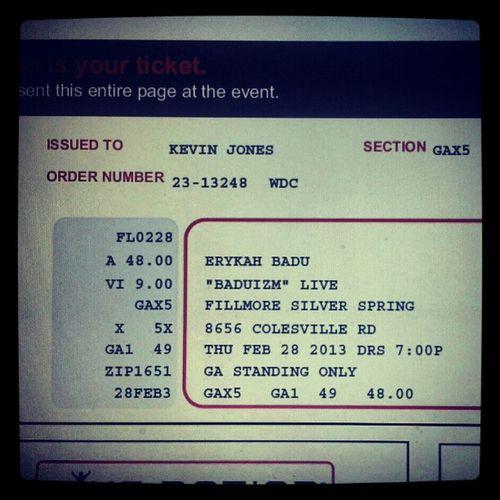 @fatbellybella @erykahbadu @fillmoress Baduizm Excited Waterformymind NeedMamasGun ticket soldout friday DC